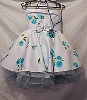 Детское платье 3D,цветы,короткая модель,купить оптом со склада платье на праздник,12 DP-0042