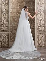 Обворожительная свадебная фата-шлейф, украшенная по низу гипюром