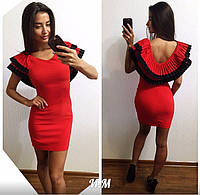 Красивое женское платье-мини с рюшей по спинке,ткань стрейч трикотаж,цвет красный,пудра,черный