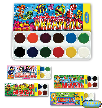 """Краски медовые """"Акварель"""" 12 цветов в картонной упаковке 02002, фото 2"""