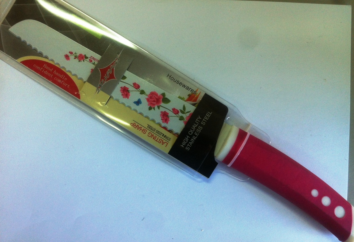 Нож универсальный цветной 33 см с пилочкой