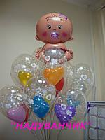 Малюк на виписку з пологового+10шт. гелієвих подвійних кульок