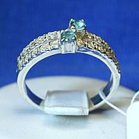 Серебряное кольцо с голубым цирконом и Дорожкой кс 828г
