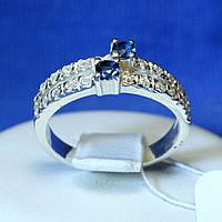 Серебряное кольцо с синим фианитом Дорожка кс 828с, фото 1