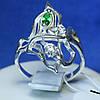 Серебряное кольцо с зеленым фианитом кс 1004з