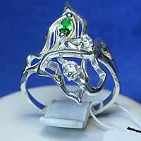 Срібне об'ємне кільце з зеленим фіанітом кс 1004з