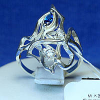 Срібне фалангове кільце з синім фіанітом кс 1004с