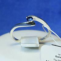 Серебряное кольцо на помолвку с синим фианитом 1229с, фото 1