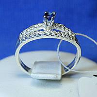 Серебряное кольцо с синим цирконом и Дорожкой кс 1293с