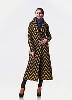 Длинное женское пальто. Модель ПЛ003_Зигзаг.