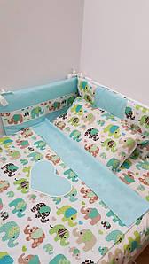 Постель в детскую кроватку Слоники Ментол