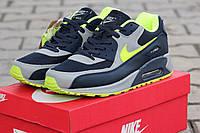 Мужские кроссовки NIKE AIRMAX 90, серые с салатовым / кроссовки мужские НАЙК АИРМАКС 90,  модные