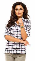 Повседневная женская рубашка прямого фасона в клетку с подкоченным рукавом креп шифон