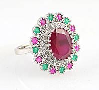 Кольцо Рубин овал 12 х 10 мм,+8 рубинов,8 изумрудов-17 р-925-ИНДИЯ