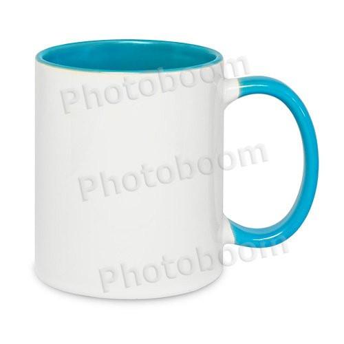 Кружка двухцветная с цветной ручкой, светло-голубая, MUG2T-I