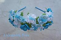 """Ободок с голубыми цветами """"Лилия"""" №129"""