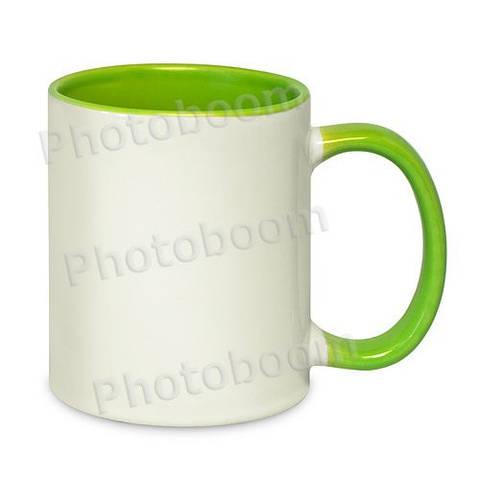 Кружка двухцветная с цветной ручкой, светло-зеленая, MUG2T-I