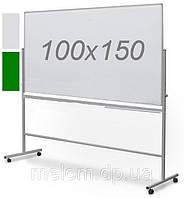 Комбинированная поворотная двухсторонняя доска мел/маркер на колесах 100х150 см