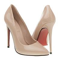 Туфли женские Christian Louboutin (бежевые, лаковые, на красной подошве, изысканные, роскошные)