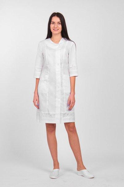 """Жіночий  медичний   халат з вишивкою """"Венера""""   (х/б)"""