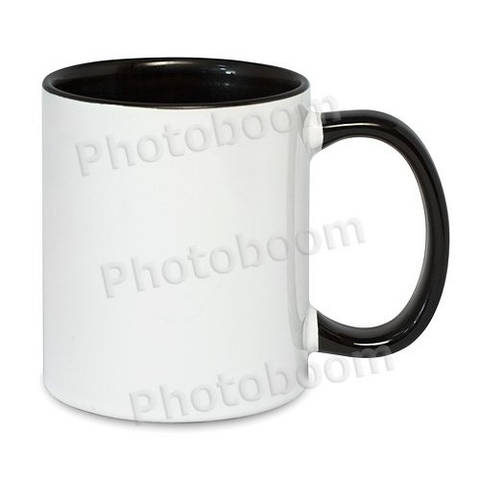 Кружка двухцветная с цветной ручкой, черная, MUG2T-I