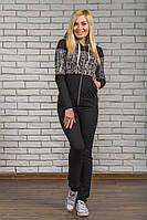 Спортивный брючный женский костюм черный