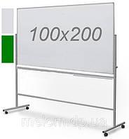 Комбинированная поворотная двухсторонняя доска мел/маркер на колесах 100х200 см, фото 1