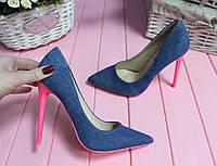 """Туфли """"Джинс"""" на шпильке синие код 14984"""