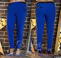 Стильные укороченные брюки с кожаными вставками