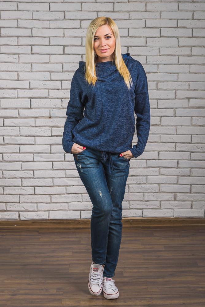 Модная кофта с капюшоном синяя