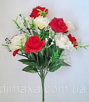 Букет искусственных цветов Роза раскрытая (микс цветов) , 45 см