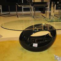 Стол журнальный Ирис, дизайнерский журнальный стол Oval, черный, Стол журнальный Ирис, стеклянный, пластик
