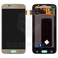 Дисплейный модуль Samsung G920F Galaxy S6, золотистый, original #GH97-17260C