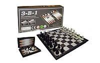 Шахматы, шашки, нарды 3 в 1 дорожные пластиковые магнитные SC54810 (р. доски 20см x 20см)