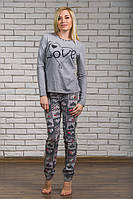 Пижама с брюками трикотажная меланж