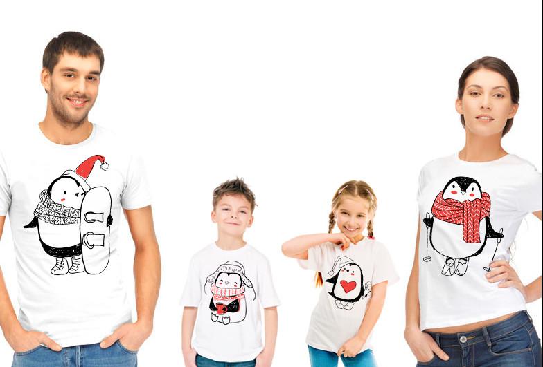"""Комплект футболок для всей семьи """"Семья пингвинов"""""""