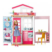 BARBIE Портативний двухэтажный домик Барби с куклой 2 story house and doll DVV48
