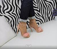 Женские босоножки на каблуке 11 см, эко замшевые  /  женские босоножки цвета пудры с меховыми шариками, весна