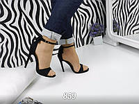 Женские черные босоножки на каблуке 12 см, эко замшевые  /   босоножки женские с бантиком на пятке, стильные