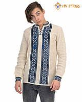 Мужская вязаная рубашка Крестики синие, фото 1