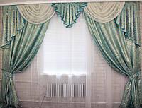 Комплект ламбрекен  со шторами на карниз 3м., цвет голубой 066лш057