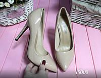 Туфли лодочки женские темный беж эко-лак