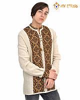 Мужская вязаная рубашка УПА коричневая темная, фото 1