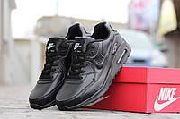 Мужские кроссовки NIKE AIRMAX, пресс кожа / черные кроссовки мужские НАЙК АИРМАКС,  модные