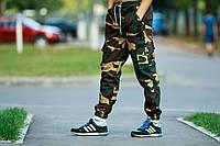 Летние мужские штаны карго Ястребь - Woodland camo (Вудкамо) размер М скидка !