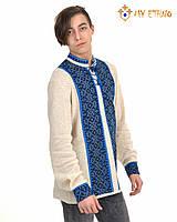 Мужская вязаная рубашка Роман синий, фото 1