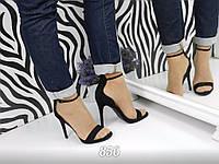 Женские черные босоножки на высоком каблуке 11,5 см, эко замшевые  /  классические  босоножки, весна 2017