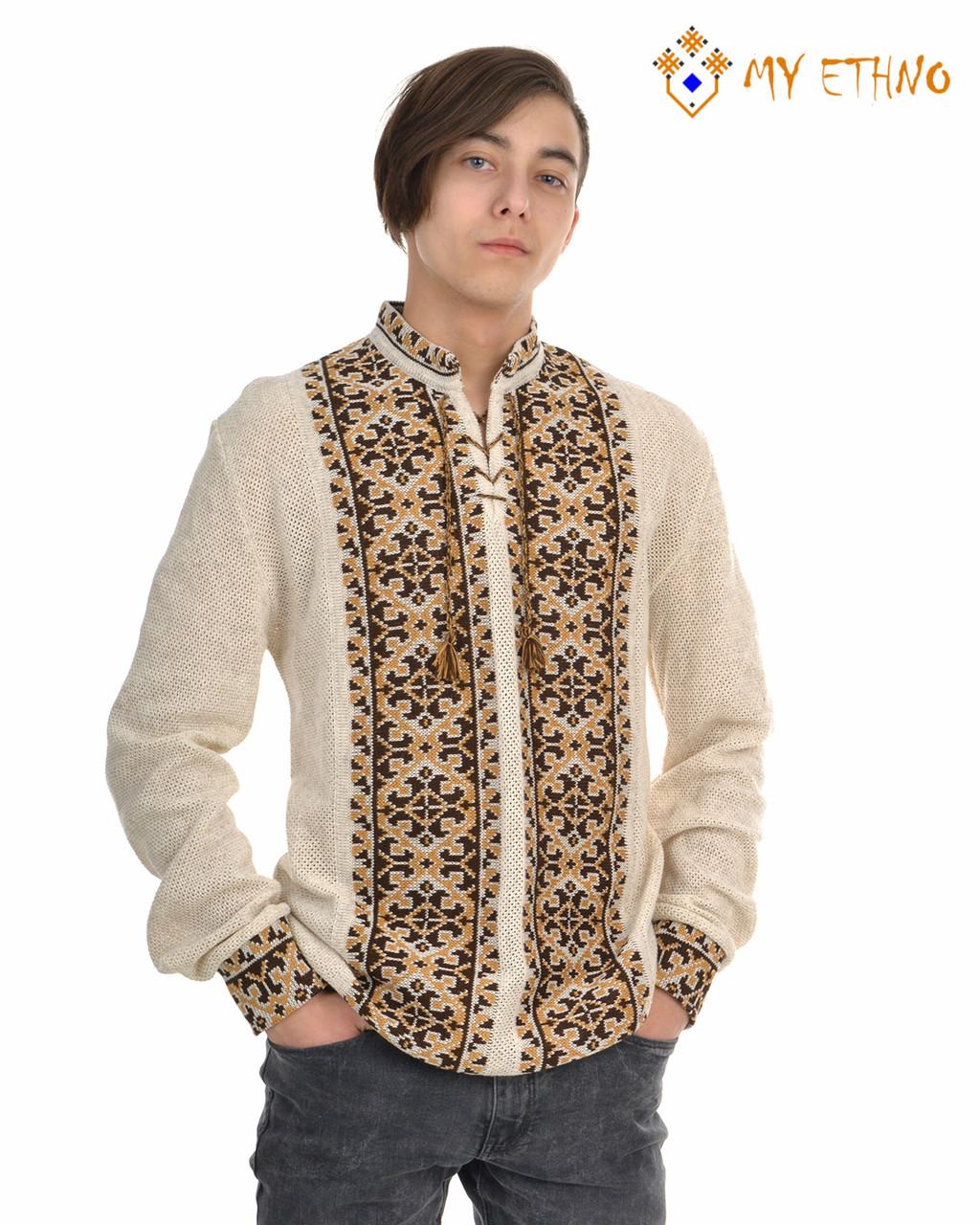 Мужская вязаная рубашка УПА коричневая светлая