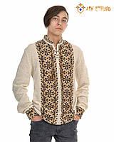 Мужская вязаная рубашка УПА коричневая светлая, фото 1