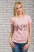 Женская  футболка с печатью Париж персик